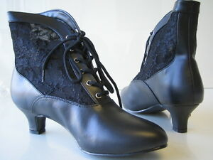 WOMENS VICTORIAN LACE ANKLE BOOTS WESTERN CAN CAN SALOON GIRL COSTUME SHOES