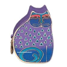Laurel Burch Cutout Cat Small Coin Purse Purple & Blues NEW 2019