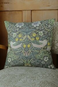 William Morris Cushion Cover Strawberry Thief Grey and Yellow