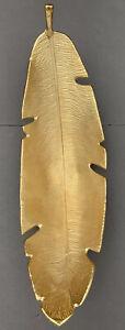 Large Metallic Gold Feather Bowl Sculpture Art Form