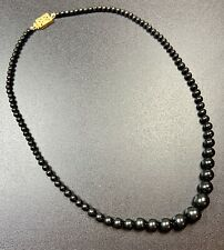 "Vintage Necklace Choker 16"" Gold Tone Clasp Black Lucite Graduated Beads"