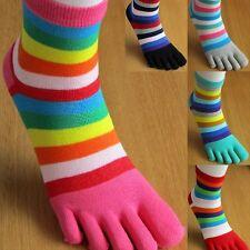 Ladies' Women's Multi-coloured Striped Toesocks Five Toes 5 Finger Toe Socks