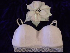 New Look White Wire Free Padded Lace Overlay Longline Strapless Bra 10