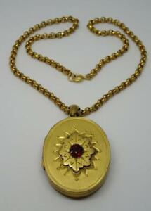 """Antique Victorian Pinchbeck / Gold Plate Garnet Paste Locket & 16"""" Chain"""