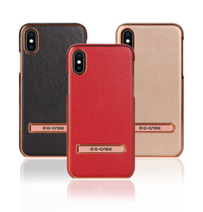 G-Case Leather Case Plating Alloy Cover With Kick Stand For iPhone X/8/7/6s/Plus