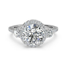 1.30 Ct Round Cut Diamond Engagement Ring 14K Solid White Gold Rings Size N O P