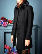Oasis Black Sophia Wool Slim Winter Fur Collar Trench Jacket Coat XS 8 - L 14