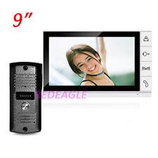 9 inch Wired Color Video door phone Intercom Doorbell System IR Pinhole Camera