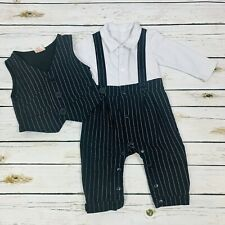 Infant Long Sleeve Striped Vest and Pantsuit Formal Wear Baby 6-12 Months
