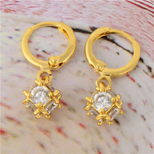 Crystal Magic Ball Dangle Earrings Vintage Women Yellow gold Filled Womens