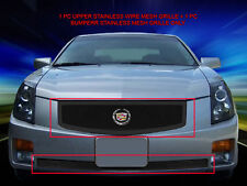 Stainless Steel Black Mesh Grille Grill Combo For 03-07 Cadillac CTS 06