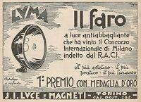 Z0851 LUMA il faro a luce antiabbagliante - Pubblicità del 1929 - Advertising