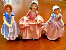 3 Vintage Royal Doulton Figurines 'Bo Peep','Dinky Do',& 'Ivy' Bone China Mint