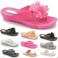 Ladies Women Flip Flops Diamante Flower Toe Post Summer Jelly Beach Sandal Shoes
