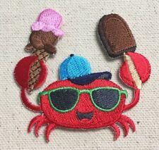 Red Crab - Sunglasses/Ice Cream - Iron on Applique/Embroidered Patch