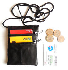 Black Leather neck pouch wallet purse travel documents passports Medium size