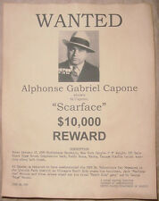 Al Capone Wanted Poster Scarface Gangster Outlaw Bank Robber