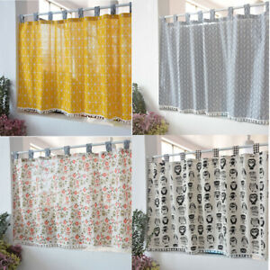 Geometric linen cotton blackout lace Home Kitchen Sheer Cafe window Curtain