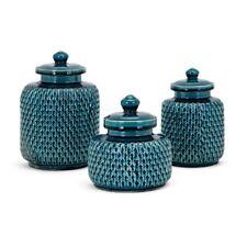 "Ceramic Maya Jar Vase w/Lid Set/3 Teal Blue Home Decor 7"", 8"", 9"" H NEW"