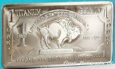 TITANIUM Buffalo Bar 1Oz .999 Fine Titanium BULLION Investment Bar 1 Ounce 99.9%