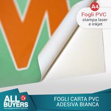 Carta ADESIVA A4 BIANCA  LUCIDO * stampa laser  15 fogli  PVC VINILE