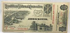 1896 REPUBLICAN NAT'L CONVENTION TICKET ~ McKINLEY~ 1st DAY-2nd SESSION-MAIN FLR