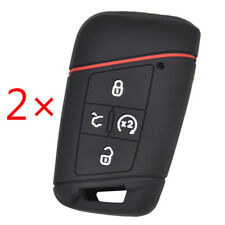2Pcs Key Case For VW Tiguan Passat Golf Atlas Silicone Remote Fob Cover
