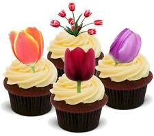 NOVELTY TULIP MIX STAND UP Cake Toppers Birthday Thank You Flowers Tulips