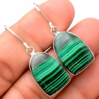 Natural Malachite Eye - Congo 925 Sterling Silver Earrings Jewelry 9803