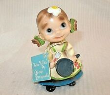 "Vintage Josef Originals Wee Folks Figurine Girl W TAG ""WHAT A MESS"" ON TAG RARE"
