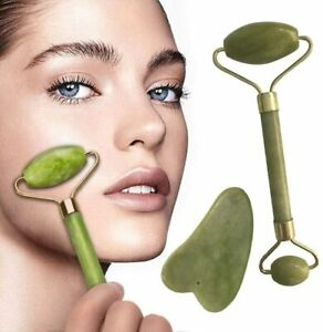 Facial Massage Kit Jade Roller and Gua Sha Scraper Set Anti Ageing Face Massage