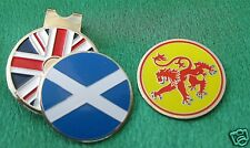 1 - SCOTLAND, DOUBLE SIDED, FLAG & LION  BALL MARKER with a UNION JACK HAT CLIP