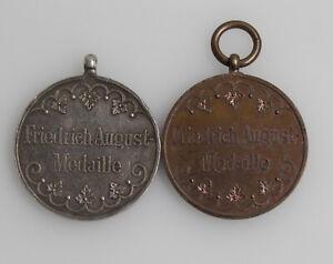 2x Orden Auszeichnung Friedrich-August-Medaille Stufe Bronze und Silber
