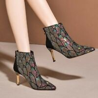 Womens Fashion Ethnic Flowers Embroidery Pointy Toe Slim High heels Ankle Boots