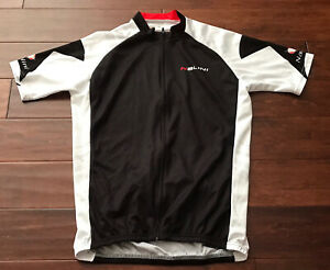Nalini Mens Classic Black White Red Spell Out Full Zip Cycling Jersey Sz XL