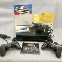 Sony PlayStation 2 Fat Black Console PS2 Paperwork 2 Controllers Game SPCH-50001