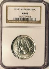 1938-S Arkansas Commemorative Silver Half Dollar - NGC MS-64 -Mint State 64