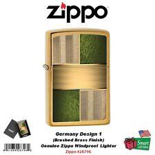Zippo Germany Design 1, Brushed Brass, Genuine USA Windproof Lighter #28796