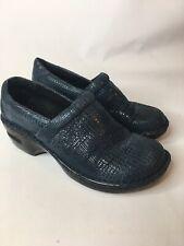 Women BOC BORN CONCEPT Suede Navy Blue Shiny Mules Clogs Shoes Size 8.5 EUR 40 M