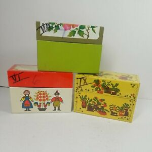 Lot of 3 Vintage Metal Recipe Boxes Ted Roses, Yellow Garden, Red Family MC