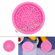 Silicone Round Flower Cake Decor Baking Icing Mold Lace Cupcake Fondant Mould
