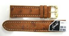 BROWN 22MM PADDED GENUINE OSTRICH WATCH BAND STRAP FITS LUMINOX 3001