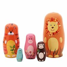 "5pcs 6"" Wooden Animals Pattern Nesting Russian Doll Handmade Kids Gift Home Deco"