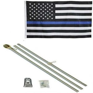 3x5 USA Thin Blue Line Embroidered Nylon Flag Aluminum Pole Kit Gold Ball