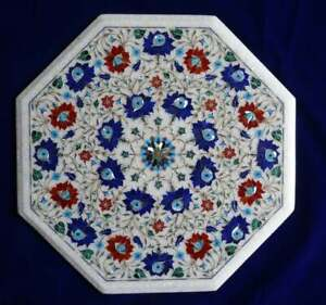 Marble Inlay Center Table for Restaurant Art Lapis Multi Stone Marquetry Décor