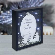 "LED Light Up Box Christmas Photo Frame Navy Blue & Silver 5"" x 7"" Photo"