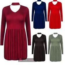 V-Neck Stretch Solid Dresses for Women