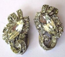 Paire pince crochet accessoire bijou vintage couleur argent cristaux diamant 588