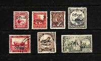 1935 New Zealand Pictorial Official, Set of 7 Stamps, FU