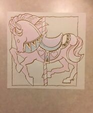 Vintage T-Shirt Heat Transfer Pink and Blue Pastel Carousel Horse